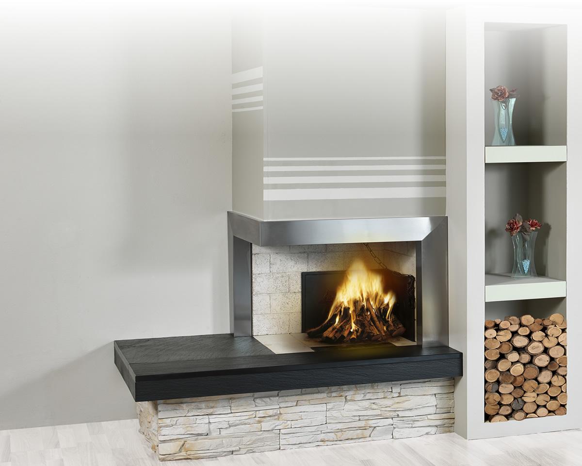 Rivestimenti il focolare la nuova dimensione del fuoco for Caminetto ad angolo contemporaneo