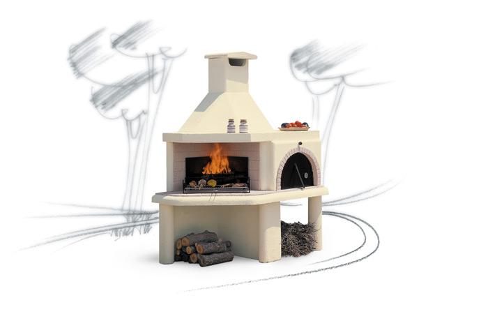 Barbecue e grill da giardino compatto modello Nuraghe