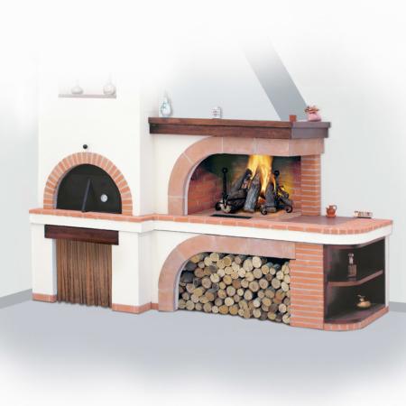 camino forno in mattoni e marmo, modello Siviglia